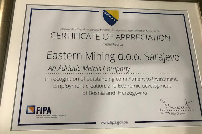 Adriatic Metals among the best foreign investors in BiH